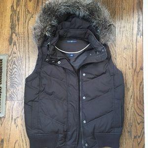 Gap Puffer Vest with Faux Fur Detachable Hood